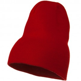 Big Stretch Plain Classic Short Beanie - Red