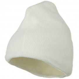 Fleece-Lined Plain Beanie - White