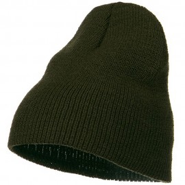 Stretch Heavy Wool Military Beanie - Olive