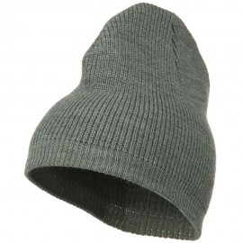 Rib Beanie with Bottom Band - Grey