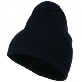 Rib Beanie with Bottom Band - Navy