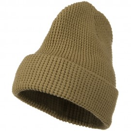 Big Stretch Waffle Stitch Cuff Beanie - Dark Sand