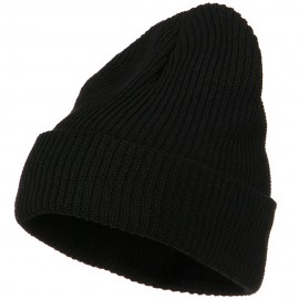 Eco Cotton Ribbed XL Cuff Beanie - Black