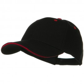 New Wool Look Sandwich Caps-Black Red