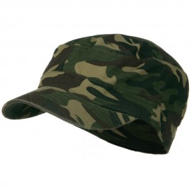 Fitted Cotton Ripstop Army Cap-Green Camo