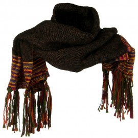 Multi Colored Wide Scarf with Tassel