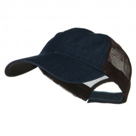 Big Size Low Profile Special Cotton Mesh Cap - Denim Brown