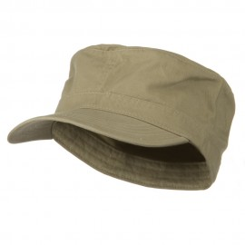 Big Size Cotton Fitted Military Cap - Khaki