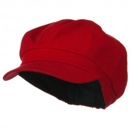 Cotton Elastic Big Size Newsboy Cap - Red