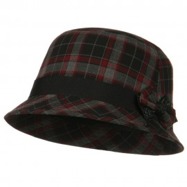 Plaid Wool Felt Cloche Hat with Bow Tie