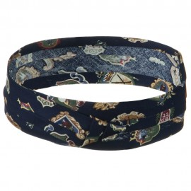 Pleated Fabric Print Hat Band-C Navy