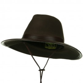 UPF 50+ Oil Cloth Safari Hat with Leather Trim