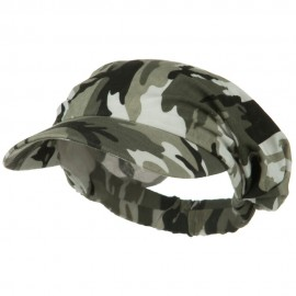 Polyester Convertible Elastic Band Camo Visor - Olive