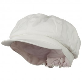 Cotton Elastic Big Size Newsboy Cap - White