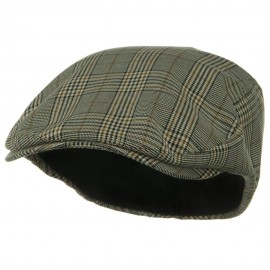 Big Size Elastic Plaid Fashion Ivy Cap - Khaki
