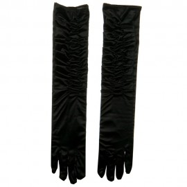 Gathered Satin 18 Inch Long Glove - Black