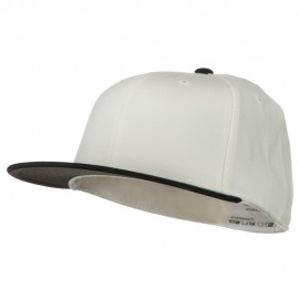 Wool Blend Flat Visor Premium Fitted Cap - White Black