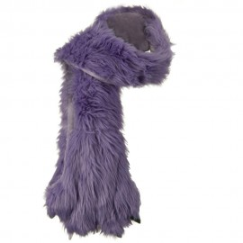 Critter Animal Faux Fur Scarf with Paw - Lilac