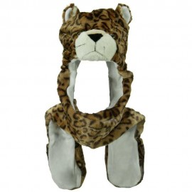 SW Long Mitten Animal Hat - Leopard