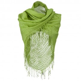 Over sized Viscose Square Scarf - Lime