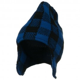 Buffalo Plaid Peruvian Beanie Hat - Blue Black