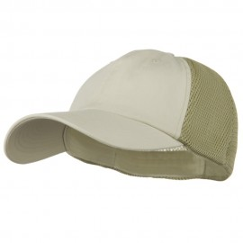 Big Size Summer Twill Mesh Flexible Fitted Cap - Stone Khaki