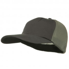 Big Size Summer Twill Mesh Flexible Fitted Cap - Charcoal Grey