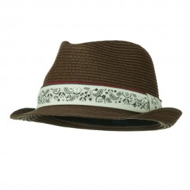 Toyo Braid Men's Fashion Fedora Hat - Brown