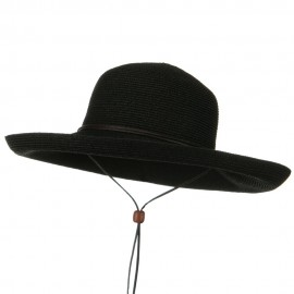 UPF 50+ Cotton Paper Braid Kettle Brim Hat - Black