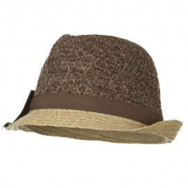 Cloth Raffia Knit Crown Ribbon Bow Fedora - Brown