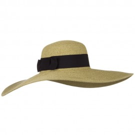 UPF 50+ Black Ribbon Wide Flat Brim Hat