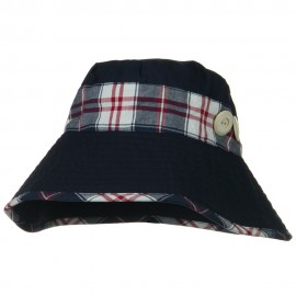 Cotton Blend Stitched Plaid Band Bucket