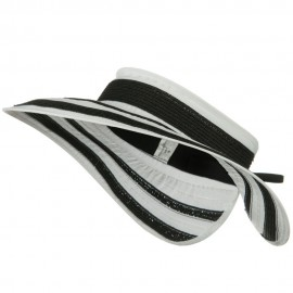 UPF 50+ Wide Brim Ribbon Braid Roll Visor - Black White