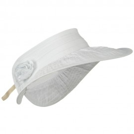 UPF 40+ Ribbon Flower Sewn Braid Roll Up Visor - White