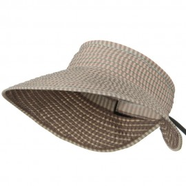 UPF 50+ Woman's Rolled Checkered Wide Brim Visor