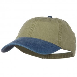 Washed Two Tone Pigment Dyed Cotton Twill Brass Buckle Cap