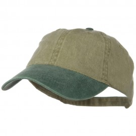 Washed Two Tone Pigment Dyed Cotton Twill Brass Buckle Cap - Dark Green Khaki
