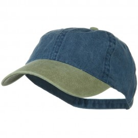 Washed Two Tone Pigment Dyed Cotton Twill Brass Buckle Cap - Khaki Navy