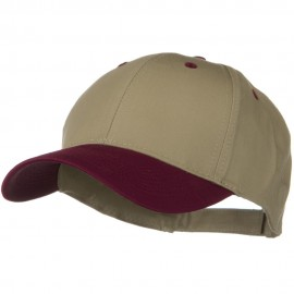 Two Tone Cotton Twill Low Profile Strap Cap - Maroon Khaki