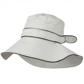 Canvas with Piping Wide Brim Hat - White