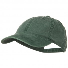 Washed Solid Pigment Dyed Cotton Twill Brass Buckle Cap - Dark Green