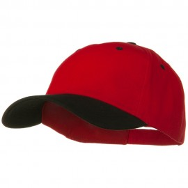 2 Tone Brushed Bull Denim Mid Profile Cap - Black Red