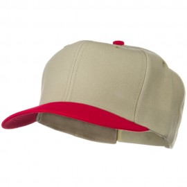 Two Tone Wool Blend Prostyle Snapback Cap - Red Khaki