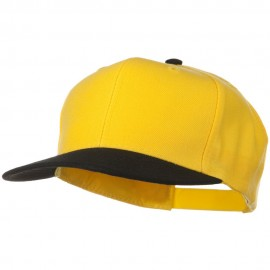 Two Tone Wool Blend Prostyle Snapback Cap - Black Yellow