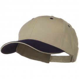 2 Tone Brushed Twill Sandwich Cap - Navy Khaki