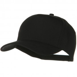 Solid Cotton Twill 5 Panel Prostyle Snap Cap - Black