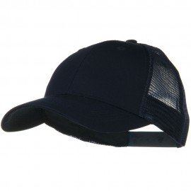 Solid Cotton Twill Low Profile Nylon Mesh Back Cap - Navy
