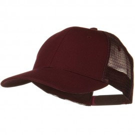 Solid Cotton Twill Low Profile Nylon Mesh Back Cap - Maroon