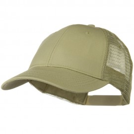 Solid Cotton Twill Low Profile Nylon Mesh Back Cap - Khaki
