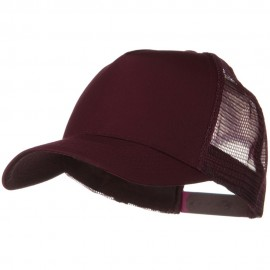 Solid Cotton Twill 5 panel Mesh Back Cap - Maroon